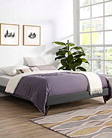 Loryn Full Fabric Bed Frame with Round Splayed Legs in Gray