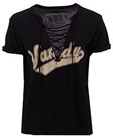 Retro Brand Women's Vanderbilt Commodores Lace Up V-neck T-Shirt