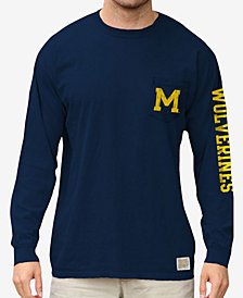 Retro Brand Men's Michigan Wolverines Heavy Weight Long Sleeve Pocket T-Shirt