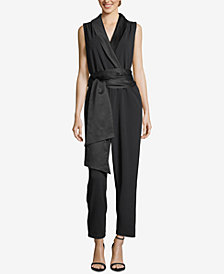 ECI Belted Shawl-Lapel Jumpsuit