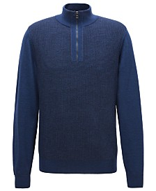 BOSS Men's Virgin Wool Half-Zip Sweater