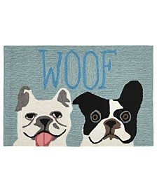 Liora Manne Front Porch Indoor/Outdoor Le Woof Blue 2' x 3' Area Rug
