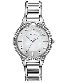 Bulova Women's Crystal Stainless Steel Bracelet Watch 32mm