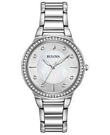 Bulova Women's Crystal Stainless Steel Bracelet Watch 32mm