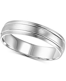 Satin Round-Edged Wedding Band in 14k White Gold