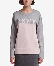 DKNY Colorblocked Graphic Sweater, Created for Macy's