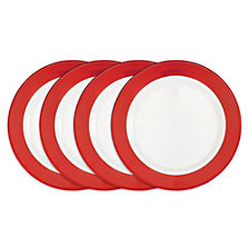 Q Squared Bistro Red Melamine 4-Pc. Dinner Plate Set