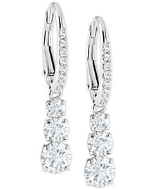 Swarovski Silver-Tone Crystal Drop Earrings