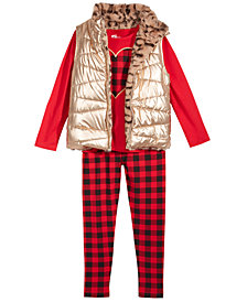 Epic Threads Toddler Girls Reversible Fur Vest, Heart T-shirt & Plaid Leggings