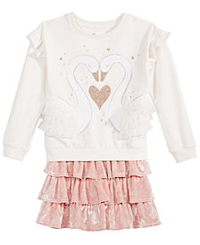 Epic Threads Little Girls Swan Sweatshirt & Velvet Skirt, Created for Macy's