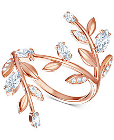 Swarovski Rose Gold-Tone Crystal Coil Ring
