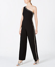 Calvin Klein Rhinestone Stripe One-Shoulder Jumpsuit