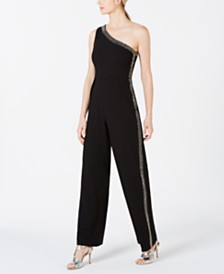 Calvin Klein One-Shoulder Embellished Jumpsuit
