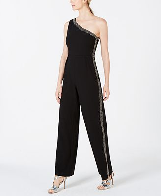Calvin Klein Rhinestone Stripe One Shoulder Jumpsuit Pants Women