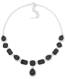 "Nine West Silver-Tone Pavé & Stone Lariat Necklace, 16"" + 2"" extender"