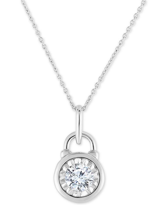 """TruMiracle - Diamond Lock 18"""" Pendant Necklace (1/2 ct. t.w.) in 14k White Gold"""