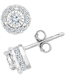 Diamond Halo Stud Earrings (3/4 ct. t.w.) in 14k White Gold