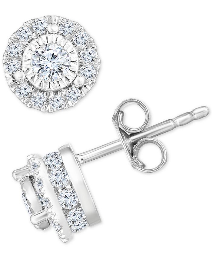 TruMiracle - Diamond Halo Stud Earrings (3/4 ct. t.w.) in 14k White Gold