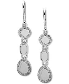 Nine West Silver-Tone Crystal Linear Drop Earrings