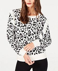 Rachel Zoe Ruffle-Shoulder Leopard-Print Sweater