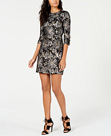 Trina Turk Metallic Jacquard 3/4-Sleeve Sheath Dress