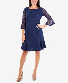 Lace Flounce-Hem Shift Dress