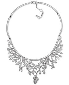 "Jenny Packham Silver-Tone Crystal Vine-Inspired Collar Necklace, 16"" + 2"" extender"