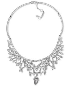 "JENNY PACKHAM Silver-Tone Crystal Vine-Inspired Collar Necklace, 16"" + 2"" Extender"