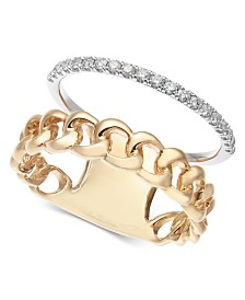 Diamond Two-Tone Chain Link Statement Ring (1/5 ct. t.w.) in 14k Gold & White Gold