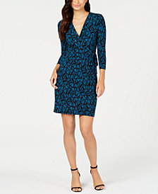 Anne Klein Josephine Faux-Wrap Print Dress