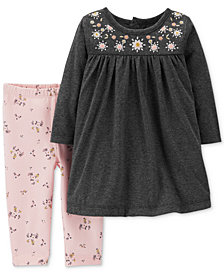 Carter's Baby Girls 2-Pc. Embroidered Dress & Floral-Print Leggings Set