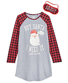 Max & Olivia Big Girls Santa Nightgown & Eye Shade, Created for Macy's