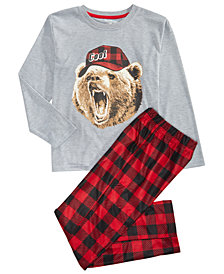 Max & Olivia Little & Big Boys 2-Pc. Bear in Hat Pajamas Set