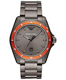 Emporio Armani Men's Gunmetal Stainless Steel Bracelet Watch 44mm