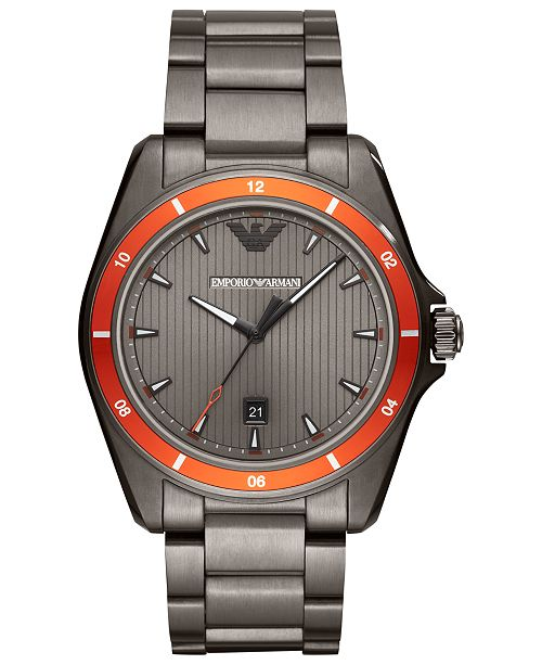 e95996e9989e Emporio Armani Men s Gunmetal Stainless Steel Bracelet Watch 44mm ...