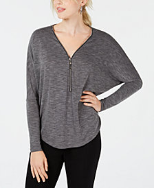 BCX Juniors' Zippered-Neck Dolman-Sleeve Top