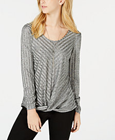 BCX Juniors' Striped Knot-Hem Top