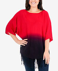 NY Collection Dip-Dye Fringe Poncho Sweater
