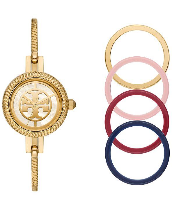 Tory Burch Women's Reva Gold-Tone Stainless Steel Bangle Bracelet Watch 27mm Gift Set