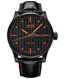 Mido Men's Swiss Automatic Multifort Black Leather Strap Watch 42mm
