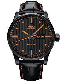 Mido Men's Swiss Automatic Multifort Black Leather Strap Watch 42mm