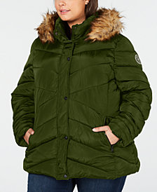 Madden Girl Juniors' Plus Size Faux-Fur-Trim Hooded Puffer Coat