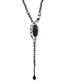 "Carolee Gold-Tone Crystal, Stone, Imitation & Freshwater Pearl (4-9mm) Swirl 18"" Lariat Necklace"