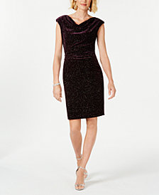 Jessica Howard Petite Velvet Drape-Neck Sheath Dress