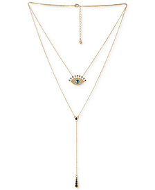 """RACHEL Rachel Roy Gold-Tone Crystal Evil Eye Double-Layer Lariat Necklace, 16""""/19-1/2"""" + 2"""" extender"""