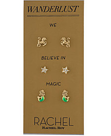 RACHEL Rachel Roy Gold-Tone 3-Pc. Set Pavé Wanderlust Stud Earrings