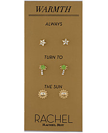 RACHEL Rachel Roy Gold-Tone 3-Pc. Set Pavé Warmth Stud Earrings