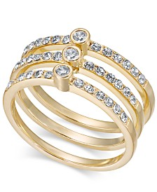 I.N.C. Gold-Tone Crystal Stack Ring, Created for Macy's