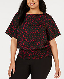 MICHAEL Michael Kors Plus Size Rose-Print Kimono-Sleeve Top
