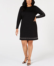 MICHAEL Michael Kors Plus Size Stud-Trim Dress